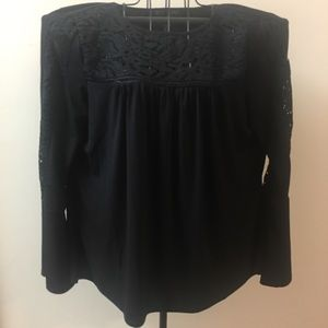 Adrianna Papell Dressy Top Lace Cutout Bell Sleeve